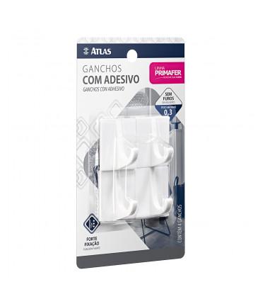GANCHO ADESIVO 4PC 0,3KG PLASTICO BR
